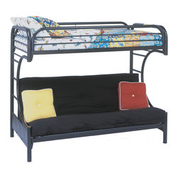 "Monarch - Black Metal Twin/Futon Bunk Bed Only - This black metal, ""C"" style twin over full futon bunk bed will make a fun and inviting addition to your child's bedroom. Convenient built in ladders on each side leads up to the top bunk which is surrounded with full length guard rails for extra piece of mind. The futon couch which can be converted into a full sized bed is ideal for a child with frequent slumber parties or when company arrives!; Assembly required; Weight: 115 lbs; Dimensions: 79""L x 39""W x 57""H"