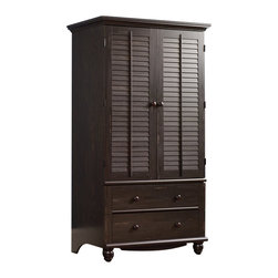 Sauder - Sauder Harbor View Armoire in Antiqued Paint - Sauder - Armoires - 401322 - Rustic and warm this Armoire from the Sauder Harbor View collection will bring great style to any room.  You will find plenty of clothes storage space with a garment hanging rod and storage cubbyholes.  Accented with louver-detailed doors that fold back against end panels this armoire can open completely to store a great variety of items.  Two drawers with metal runners and safety stops feature the patented T-lock assembly system.  Great detail touches include wood knobs and turned feet.  Finished in a beautiful antiqued paint there is no doubt that this armoire will be a staple in your child's bedroom master bedroom or guest room for years to come.Features: