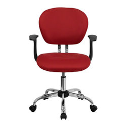 Flash Furniture - Flash Furniture Office Chairs Mesh Task Chairs X-GG-SMRA-DER-F-6732-H - This value priced mesh task chair will accommodate your essential needs for your home or office space. This chair will add a splash of color to your office for a non-traditional look. Chair features a breathable mesh material with a comfortably padded seat. [H-2376-F-RED-ARMS-GG]