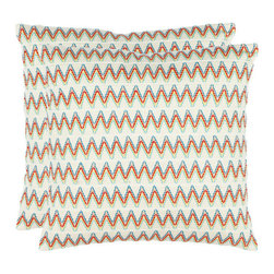 Safavieh Home Furniture - Logan 18-Inch Cream Decorative Pillows, Set of 2 - -With a fresh, contemporary eye-catching pattern, this decorative pillow is a lovely addition to any decor. This throw pillow features a modern print design with a hand-woven polyester cover. This throw pillow cover features cream, blue, red, yellow and green.  - Please note this item has a 30-day manufacturer's limited warranty that covers product defects. Inspect your purchase upon delivery and notify us immediately with any concerns. Safavieh Home Furniture - PIL855A-1818-SET2