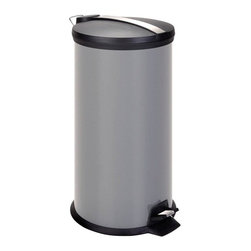 30L Metal Step Trash Can, Gray - Honey-Can-Do TRS-02070 2-Tone Colored Step Trash Can, Gray. A contemporary addition to any home or office, this 30L trash can boasts sturdy construction for daily use. The steel foot pedal provides hands-free operation to keep germs at bay. A removable inner bucket keeps bags from snagging and is easily cleanable. The deep recessed lid, hides trash bags from view. The gray, hand print resistant exterior is easy to clean and features a plastic fold down carrying handle.