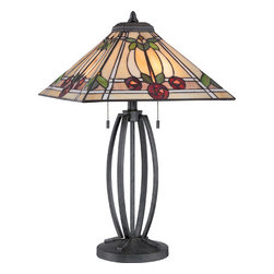 Quoizel - Ruby Vintage Black Two Light Table Lamp - - Switch Type: Pull Chain Socket (On/Off)  - Cord Length: 8 Feet  - Glass/Shade: Tiffany Glass Shade Quoizel - TF1694TVK