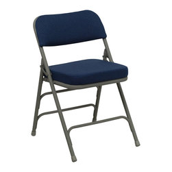 Flash Furniture - Flash Furniture Hercules Series Metal Folding Chair in Navy - Flash Furniture - Folding Chairs - HAMC320AFNVYGG - The Triple Braced Hercules Series Folding Chairs are our best folding chairs ever. When in need of temporary seating this heavy duty gray metal frame chair with navy fabric padded seat and back is perfect. This portable folding chair can be used for Parties, Graduations, Sporting Events, School Functions and in the Classroom. This chair will be the perfect addition in the home when in need of extra seating to accommodate guests. The chair will not take up anywhere near as much space as chairs that cannot fold when it comes time to clean up. This economically priced chair will endure some heavy usage with an 18-gauge steel frame, triple braced and leg strengthening support bars. [HA-MC320AF-NVY-GG]