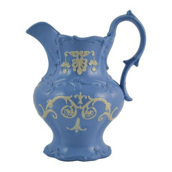 None visible - Consigned Blue and White Large Molded Jug, Antique English, Early 1800s - Spectacular sky blue ceramic jug with molded decoration and with applied white classical garlands, early 19th century English.