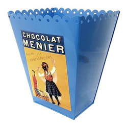 French Chocolate Wastebasket, Blue - Chocolate and a trash can? Why not? It certainly is a conversation piece.