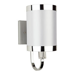 """Artcraft - Artcraft Madison 10"""" High White and Chrome Wall Sconce - This exquisite chrome and white wall sconce will look magnificent over a vanity or makeup table. Bring a welcome addition to your contemporary decor with this chrome wall sconce. A shimmering white shade trimmed with chrome banding creates an impressive accent that will add chic sophistication to your home. Designed by Steven and Chris for Artcraft Lighting."""