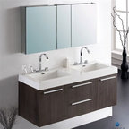 Fresca - Fresca Opulento Gray Oak Modern Double Sink Bathroom Vanity with Medicine Cabine - There is always great design in simplicity. Double the greatness with this double sink vanity with accompanying medicine cabinet. To ease any storage worries, beautiful mirrored medicine cabinet will satisfy immediate storage needs for two. A beautiful widespread chrome faucet is also included. A great ensemble for those with room to spare but not without limitations on measurements. Ideal for anyone looking for a winning combination of style, sleek design, and size that brings it all together to present something dashingly urban. Optional side cabinets are available. Features MDF/Veneer with Acrylic Countertop/Sinks with Overflow Soft Closing Drawers and Doors Widespread Faucet Mount P-traps, Faucets/Pop-Up Drains and Installation Hardware Included How to handle your counter Installation GuideView Spec Sheet