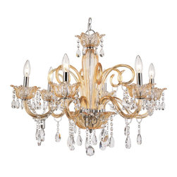 Trans Globe Lighting - Trans Globe Lighting HG-6 CHMP 6-LT Crystal Chandelier Modern / Contemporary Cha - Elegant crystal chandelier with delicately placed crystals hanging from the glass branches with candelabra base bulbs. In champagne of frost.