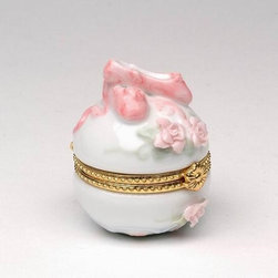 CG - Pink Ballet Slippers and Roses on White Hinged Box with Gold Trim - This gorgeous Pink Ballet Slippers and Roses on White Hinged Box with Gold Trim has the finest details and highest quality you will find anywhere! Pink Ballet Slippers and Roses on White Hinged Box with Gold Trim is truly remarkable.