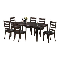 """Monarch Specialties - Monarch Specialties 7 Piece 78x42 Dining Room Set in Cappuccino, Dark Wood - Finished in a cappuccino cherry veneer, this spacious dining table features symmetrically cut corners that add a simple touch to its stylish look. Its solid wood tapered legs, offer smooth lines as well as sturdy support. This piece comes with an 18"""" extendible leaf, which allows for extra space when hosting dinner parties or get-togethers. This beautiful table is guaranteed to please! What's included: Dining Table (1), Side Chair (6)."""