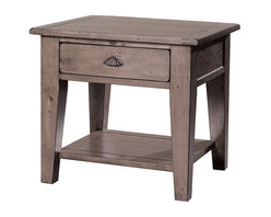 "Four Hands - Reclaimed Solid Wood End Table with Drawer and Shelf - A sun-dried ash finish creates a warm aura around this end table. You can spice it up with a colorful lamp and maybe a few books on the display shelf at the base. There""s also a drawer to hold items that might otherwise be misplaced "" like remotes. Table is made from reclaimed and recycled wood for a one-of-a-kind piece. Antique look fluted drawer pull, distressed finish and tapered legs. This piece can be used as an end table or nightstand."