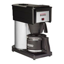 BUNN-O-MATIC CORP. - BX-B 10 CUP COFFEEMAKER - HOME COFFEE BREWER  Original hot water reservoir-style brewer  Brews 10 cups of perfect coffee in 3 minutes  Stainless steel trunk  Separately controlled warmer  Brewing system thermostat  3 year warranty-made in USA        BX-B 10 CUP COFFEEMAKER    COLOR:Black