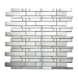 Eden Mosaic Tile - Modern Mixed Brick Pattern Mosaic Stainless Steel Tile Pack (11 Sheets) - This modern pattern is made up of five different types of individual steel tiles. The sizes range from 47x20mm 100x10mm 27x10mm 15x15mm and 100x20mm. The unique staggered brick pattern results in a stunning modern effect .This tile is ideal for steel back splashes accent walls fireplaces and more. The tiles in this sheet are mounted on a nylon mesh which allows for an easy installation. Imported.