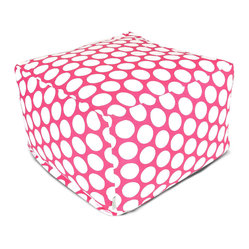 Indoor Hot Pink Large Polka Dot Large Ottoman