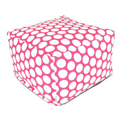 Majestic Home - Indoor Hot Pink Large Polka Dot Large Ottoman - Here's a fresh new angle on the classic beanbag. This awesome ottoman in a poppy print works as a footstool, coffee table or comfy seat in your favorite casual setting, and you've got to love that it's so easy care: Simply zip off the durable cotton twill slipcover and toss in the wash.
