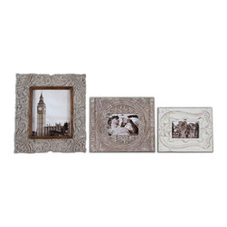 Uttermost - Askan Wood Photo Frames, Set of 3 - Do you have a few special photos that need frames that are out of the ordinary? Your wait is over. These carved mango wood frames are so unique that they make anything you put in them extraordinary.
