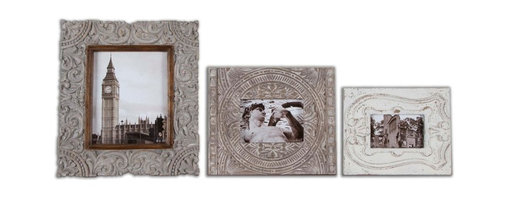 Uttermost - Askan Wood Photo Frames Set of 3 - Do you have a few special photos that need frames that are out of the ordinary? Your wait is over. These carved mango wood frames are so unique that they make anything you put in them extraordinary.