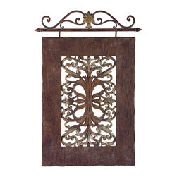 iMax - iMax Casa Lucia Hanging Panel - A great conversation piece, this wall panel is equal in quality and character. Constructed of iron and resin, it features a rustic brown finish that ensures its unique appearance.