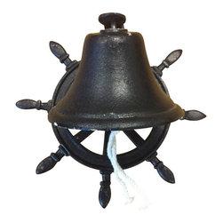 "AJcd-1251 - Cast Iron Antique Black Boat Wheel Wall Hanger with Bell - Cast iron antique black boat wheel wall hanger with bell. Measures 10"" x 8"". Assembly required."