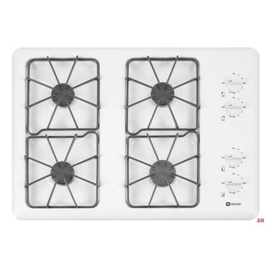 "Maytag - Maytag 30"" White Gas Cooktop - Want power without a lot of hassle? This reliable 30-inch, four-burner features three 9,200 BTU burners and one 12,500 BTU Power Cook Burner to provide the heat"