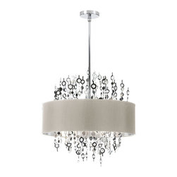 Dainolite - 8 Light Crystal Chandelier with Peable Shade - -Main Body Material: Steel