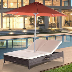 Domus Ventures - Domus Ventures Cleveland Lecce Sunlounger with Umbrella Hole and Tray Multicolor - Shop for Chaise Lounges from Hayneedle.com! Named for a historic village in the heel of Italy's boot the Cleveland Lecce Sunlounger with Umbrella Hole and Tray provides the location for Mediterranean-style relaxation for two. This double sunlounger has independently operating recline mechanisms that take you from flat to upright and can recline from either side so you can face the opposite direction as the sun's rays change and you can choose to be face-to-face or side-by-side with your sunning partner. The umbrella hole provides shade precisely where it's needed with no cumbersome umbrella stand to take up precious space. It's woven by hand of all-weather Abaco XF wicker in a variegated praline finish. This high-density polyethylene wicker is colorfast UV-resistant and never fades stretches warps or mildews. Dirt and stains don't stick to it. Streamlined trays pull out from each side as needed to hold beverages and other small essentials. Aluminum framing withstands the elements and will not rust. Full-length foam cushions are covered with outdoor-grade fabric in ecru.About Domus Ventures Pte. Ltd.Established in 1997 Domus Ventures is a German-owned manufacturer that has grown into a dominant global player in the furniture industry. Exporting over 1 600 containers annually each design and each piece is subjected to the highest level of scrutiny ensuring the company's commitment to excellence. Often using materials such as teak natural wicker loom paper fiber and resin wicker Domus Ventures is always exploring and testing new materials to find beautiful and sustainable high-quality designs while striving to produce unique modern and contemporary furniture that creates the perfect setting for your home and lifestyle whatever your taste budget or needs might be. Despite their growth into a company that employs over 2 200 factory and office staff in China Indonesia Singa