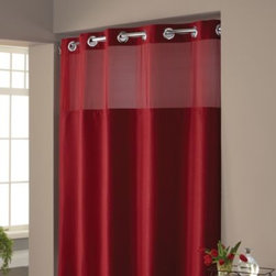 "Hookless - Hookless Waffle 71-Inch x 74-Inch Fabric Shower Curtain and Liner Set in Red - This innovative shower curtain and liner offer no hassles thanks to their ""split ring"" hookless design that lets you hang them in less than 10 seconds."