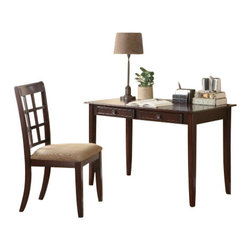 Coaster - 2Pc Desk Set (Cherry) By Coaster - The desk offers two drawers and wide working surface. This item will make a great addition to your home. Dimensions: Table Desk (Coaster 800780) 50x28x11