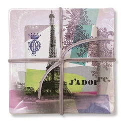 Fringe Studio - Square J'Adore Tray Soap Set - The perfect hostess gift for your friends and family, this transferware glass soap tray and coordinating scented soap evoke thoughts of Paris. Gift boxed for your convenience.