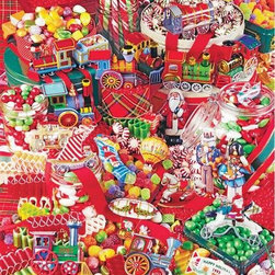 Christmas Candies Puzzle - 500 Piece Jigsaw Puzzle500 pieces of Christmas treats compose this very red, very interesting puzzle! Can you spot all the different types of candies and all of the different years of ornaments? It will feel like Christmas has come early when you get your hands on this new Springbok jigsaw puzzle!