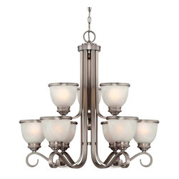 Savoy House - Savoy House 1-5773-9-69 Willoughby 9 Light Chandelier - A builder?s dream, versatile and polished in Pewter with White Marble glass (topped off with a pewter rim). The perfect match for today?s popular stainless steel appliances.