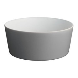 Alessi Dinnerware - Alessi Dinnerware Tonale Serving Bowl - Dark Grey - Serving bowl in stoneware.  A seemingly random collection of objects, the table service comprises a number of items including a tray, a board, a carafe, plates, bowls, beakers, and cups.  The project was inspired by vernacular ceramics from Korea, Japan, and China, and conceived as an exercise in refining functional household objects.  The name 'Tonale' refers to Giorgio Morandi's use of color tonality imbuing his daily objects with a sense of individuality. The objects are produced in a variety of materials including enamelled steel, glass, earthenware, and wood. While striving for expressive purity, the range honors today's requirements for durability and versatility.  Manufactured by Alessi. Designed in 2009.