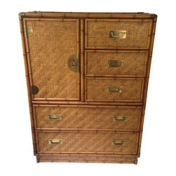 """Used Faux Bamboo Mid-Century Dixie Dresser - Beautiful Mid-Century dresser with faux bamboo borders, woven surfaces, and the original brass hardware. Marked """"Dixie"""", it's in excellent vintage condition with just minor brass loss on some corners. This piece is sure to add great texture to any space."""
