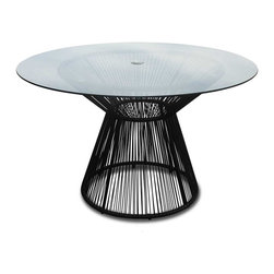 Harmonia Living - Acapulco Outdoor Patio Dining Table, Jet Back - The Acapulco Outdoor Dining Table by Harmonia Living in Jet Black (SKU HL-ACA-DT-JB) blends mid-century design with modern funk to create a new standard of comfort and style for your patio. The collection is inspired by woven furniture that was incredibly popular in Central America in the 1950s and '60s, creating seating that is supportive and breathable. This makes the Acapulco Lounge Chair ideal for unwinding even in the warmest climates. The chair is designed to center your weight between its triangular legs, providing a stable and comfortable resting position that seems to defy the outrageous geometry of the collection. Beyond its comfortable design, the lounge chair is constructed with a powder-coated steel frame, making it incredibly durable and weather-resistant. The frame is wrapped in a supportive Polyethylene cord, giving the collection its distinctive look. The chair is available in funky colors that are sure to brighten up your patio, including Glacier Blue, White Lighting, Root Beer Brown and Jet Black.