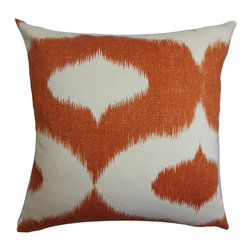 The Pillow Collection - Leilani Ikat Pillow Orange - This vibrant decor pillow is a bold choice for your interiors. The warm orange ikat print set against a white background brings a pop of color to the accent pillow. This affordable and US-made throw pillow is made of 100% cotton fabric. Mix and match zigzags, florals and solids for a traditional-inspired decor style. Hidden zipper closure for easy cover removal.  Knife edge finish on all four sides.  Reversible pillow with the same fabric on the back side.  Spot cleaning suggested.
