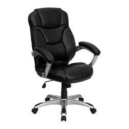 Flash Furniture - Flash Furniture Office Chairs Fabric Executive Swivels X-GG-AEL-KB-527-OG - This contemporary high back office chair features soft black leather upholstery, an overstuffed seat, back and arms, and contemporary ergonomic styling to provide an unmatched sitting experience. Chair features a silver nylon base with black caps that prevent feet from slipping. For your next office chair, look no further than this extremely comfortable and stylish leather office chair! [GO-725-BK-LEA-GG]