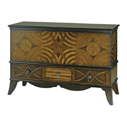Currey & Company - Creslow Cabinet - The Creslow Cabinet even looks beautiful from the back and all around the sides as well as the front. This versatile design enables it to be used as a media center, a bar, a buffet or whatever. It is undoubtedly the best all -around cabinet in the marketplace. It's design came from an old Pennsylvania Dutch blanket chest with some inspiration thrown in from perhaps a patchwork quilt. It has a drop front and three drawers at the bottom so there is plenty of room for unexpected storage. It is constructed from solid Mahogany, Jatoba veneer, and marquetry of myriad exotic woods. The finish is Antique Polish and Antique Aubergine.