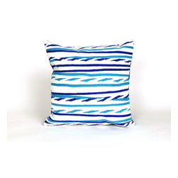 """Trans-Ocean Inc - Twist Stripe Sky 20"""" Square Indoor Outdoor Pillow - The highly detailed painterly effect is achieved by Liora Mannes patented Lamontage process which combines hand crafted art with cutting edge technology. These pillows are made with 100% polyester microfiber for an extra soft hand, and a 100% Polyester Insert. Liora Manne's pillows are suitable for Indoors or Outdoors, are antimicrobial, have a removable cover with a zipper closure for easy-care, and are handwashable.; Material: 100% Polyester; Primary Color: Blue;  Secondary Colors: navy, white; Pattern: Twisted Stripe; Dimensions: 20 inches length x 20 inches width; Construction: Hand Made; Care Instructions: Hand wash with mild detergent. Air dry flat. Do not use a hard bristle brush."""