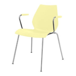 Kartell - Maui Armchair, Set of 2, Matte Pale Yellow - Designed by Vico Magistretti. Meets CAL 133 fire code regulations.