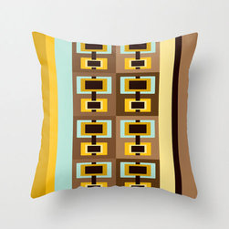 Retro Rectangles Throw Pillow Cover - The fun, eye-catching design of this throw pillow features a rectangular pattern with shades of aqua, yellow, brown, and black.
