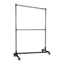 "Quality Fabricators - Z-Rack - Heavy Duty 60"" Long Base Double Rail w/ 84"" Uprights Black - This Z-Rack is designed to hold up to 500 lbs of apparel, while maximizing all five feet of length. And because the two rows are placed on top of each other, the rack will not tip under a heavy load."