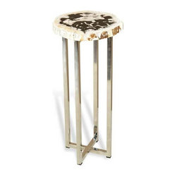 Interlude Home - Interlude Home Argo Round Drink Table - This Interlude Home Round Drink Table is crafted from Petrified Wood and Steel and comes in a Natural Polished Finish.  Overall size is:  9 in. W x  9 in. D x 21 in. H.