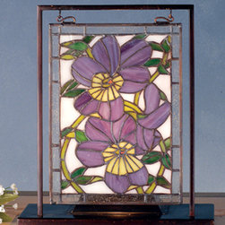 Meyda - 9.5 Inch Width x 10.5 Inch Height Pansies Mini Windows - Color theme: PHS (Light) PR Ia 59 ZAZ