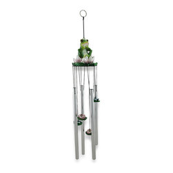 """Zeckos - """"Feelin Froggy"""" Whimsical Frog Sitting On a Lily Pad Flower Wind Chime - Make your porch, patio, garden oasis or home something to really croak about This must-have wind-chime features an oh-so-cute and playful 3 3/4 inch high, 3 1/2 inch diameter green frog quietly sitting on his pretty lily pad while cast resin lily pads and dragonflies hang down to ring the aluminum chimes. At 18 1/2 inches high from the top of the frog to the bottom of the longest chime, this frog is ready to make beautiful music just for you It includes an attached 4 inch long keyring style hanger so it'll easily hang from just about any type of hook, offering you plenty of hanging options, and would make a wonderful gift for both frog lovers and collectors alike"""