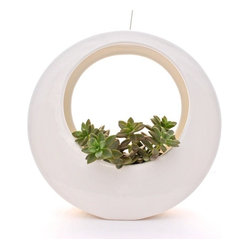 "Potted - The Circle Pot by Potted, White - The Circle Pot is one of our most popular designs. You can see it hanging on stylish front porches across LA and beyond. Even on the hit CBS show ""Two Broke Girls."""