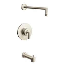 Moen - Moen TS22003NH Arris Brushed Nickel Posi-Temp Tub/Shower - Moen TS22003NH Arris Brushed Nickel Posi-Temp Tub/Shower. Arris Accessories offer sharp angles and tubular lines that dominate each piece in this modern collection, not just with style but with functional products also. This Brushed Nickel  Posi-Temp Tub/Shower brings the warm look of stainless to your bath, and completes the overall look and design of your bathroom. Additional features Include; LifeShine finish that assures the ultimate in durability and is guaranteed not to tarnish, corrode or flake off,