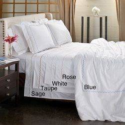None - Scallop Embroidery 300 Thread Count Cotton Percale Sheet Set - Get a good nights slumber when you slip in between the pieces of this 300-thread-count cotton sheet set. The sheet set includes everything you need to set up a new bed,with a comfortable fitted sheet,matching pillowcases and a flat sheet.