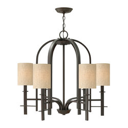 Hinkley Lighting - Sloan 6-Light Chandelier - The Sloan collection is known for its intriguing forged iron construction allowing it to fit into rustic, industrial, colonial, or contemporary design motifs. Regency Bronze finish with natural-linen hard back shades. 60 in. of chain and 72 in. of leadwire included for installation. 6 in. diameter canopy.