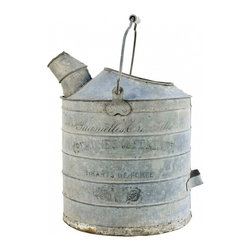 Can with Spout - This galvanized metal can with spout from France has writing on the side - we love the patina on this. Vintage.