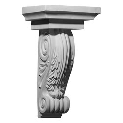 "Ekena Millwork - 11 5/8""W x 8 5/8""D x 20 1/4""H Strasbourg Corbel - 11 5/8""W x 8 5/8""D x 20 1/4""H Strasbourg Corbel. These corbels are truly unique in design and function. Primarily used in decorative applications urethane corbels can make a dramatic difference in kitchens, bathrooms, entryways, fireplace surrounds, and more. This material is also perfect for exterior applications. It will not rot or crack, and is impervious to insect manifestations. It comes to you factory primed and ready for your paint, faux finish, gel stain, marbleizing and more. With these corbels, you are only limited by your imagination."